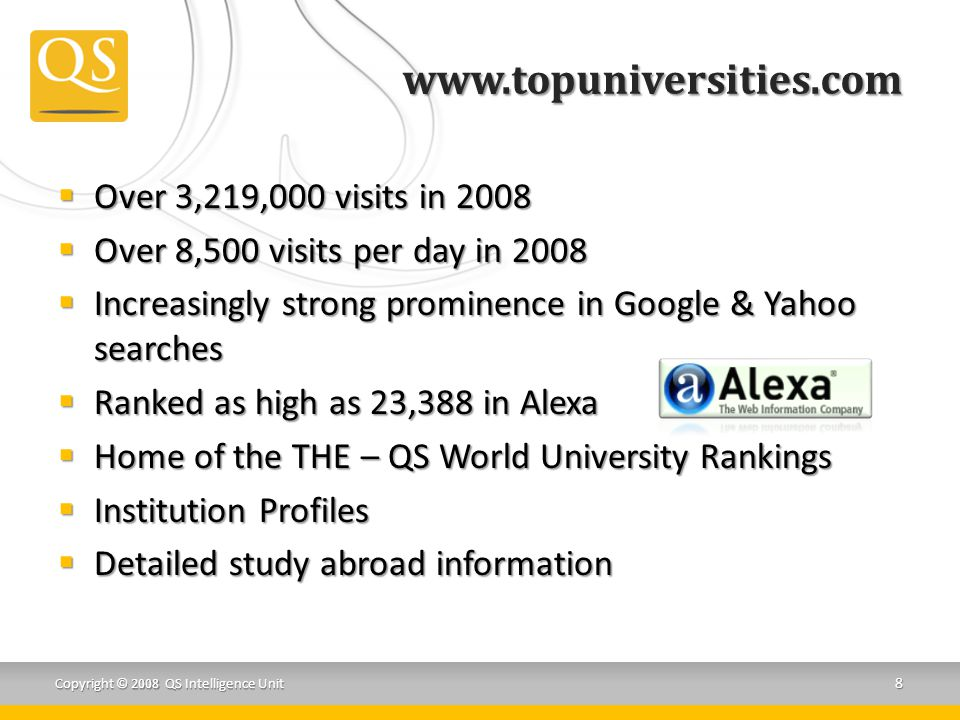 www.topuniversities.com  Over 3,219,000 visits in 2008  Over 8,500 visits per day in 2008  Increasingly strong prominence in Google & Yahoo searches  Ranked as high as 23,388 in Alexa  Home of the THE – QS World University Rankings  Institution Profiles  Detailed study abroad information Copyright © 2008 QS Intelligence Unit 8