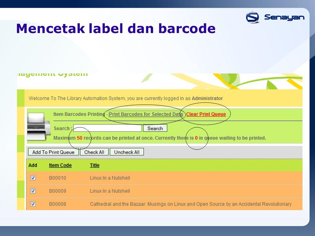 Mencetak label dan barcode