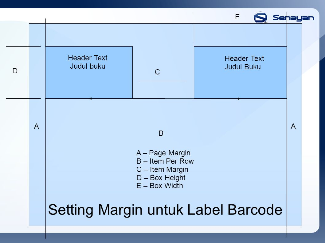 Header Text Judul buku Header Text Judul Buku A B C D A E Setting Margin untuk Label Barcode A – Page Margin B – Item Per Row C – Item Margin D – Box Height E – Box Width