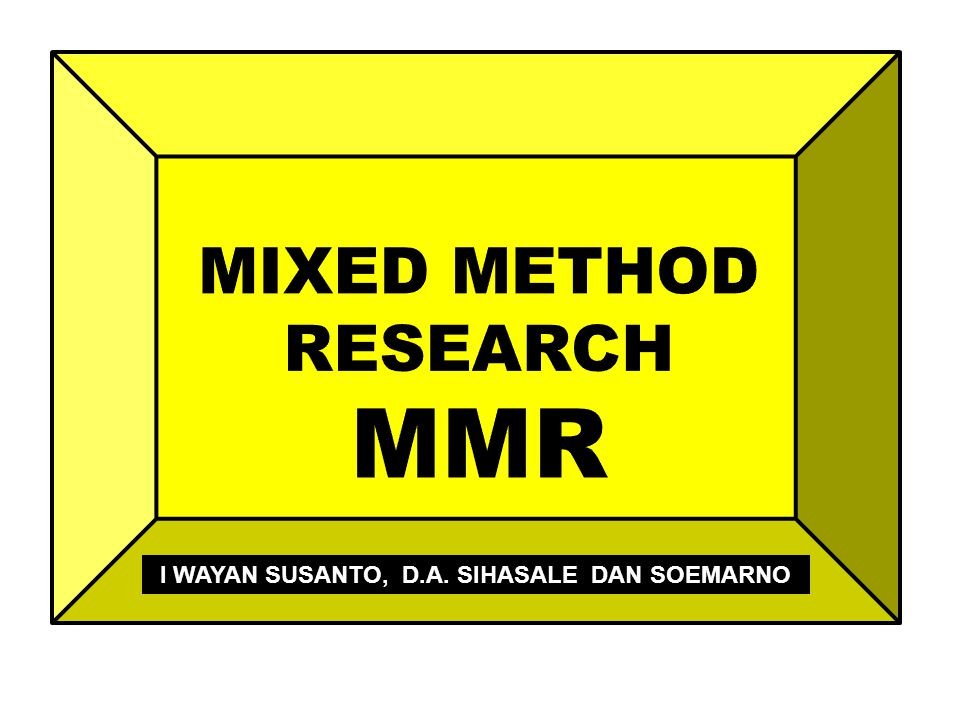 Type of mixed methods design Procedures for: designing the title writing the introduction to a study writing the purpose statement and research questions/hypotheses data collection data analysis writing the mixed methods report evaluating the mixed methods research Worldviews, theoretical frameworks, problem and research question, skills, resources Sumber: John W.