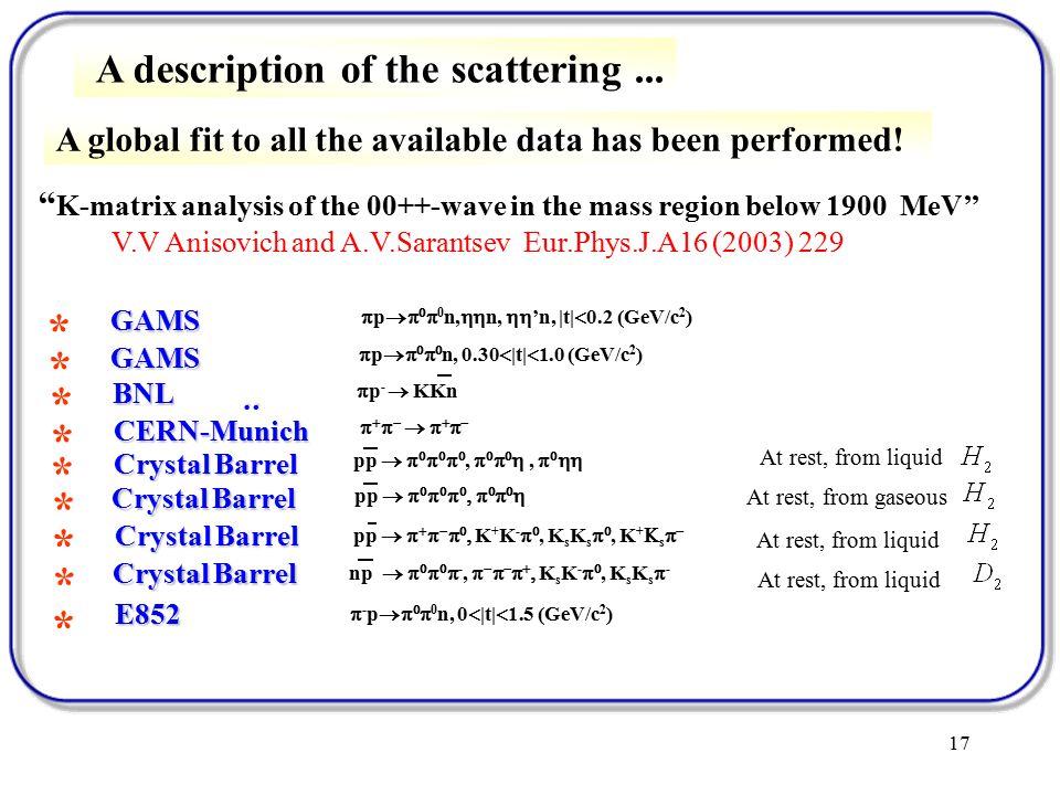 17 *  p    0 n,  n,  'n, |t|  0.2 (GeV/c 2 ) GAMS *  p     n, 0.30  |t|  1.0 (GeV/c 2 ) GAMS * BNL *  p -  KKn CERN-Munich :         * Crystal Barrel * * * pp             pp       ,     ,    pp         K + K -  , K s K s  , K +  s   np       -,        K s K -  , K s K s  -  - p    0 n, 0  |t|  1.5 (GeV/c 2 ) E852 * At rest, from liquid At rest, from gaseous At rest, from liquid K-matrix analysis of the 00++-wave in the mass region below 1900 MeV'' V.V Anisovich and A.V.Sarantsev Eur.Phys.J.A16 (2003) 229 A description of the scattering...