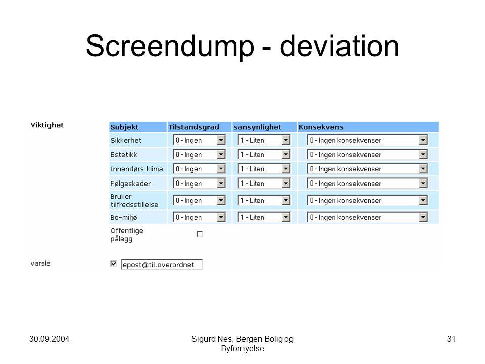 30.09.2004Sigurd Nes, Bergen Bolig og Byfornyelse 31 Screendump - deviation