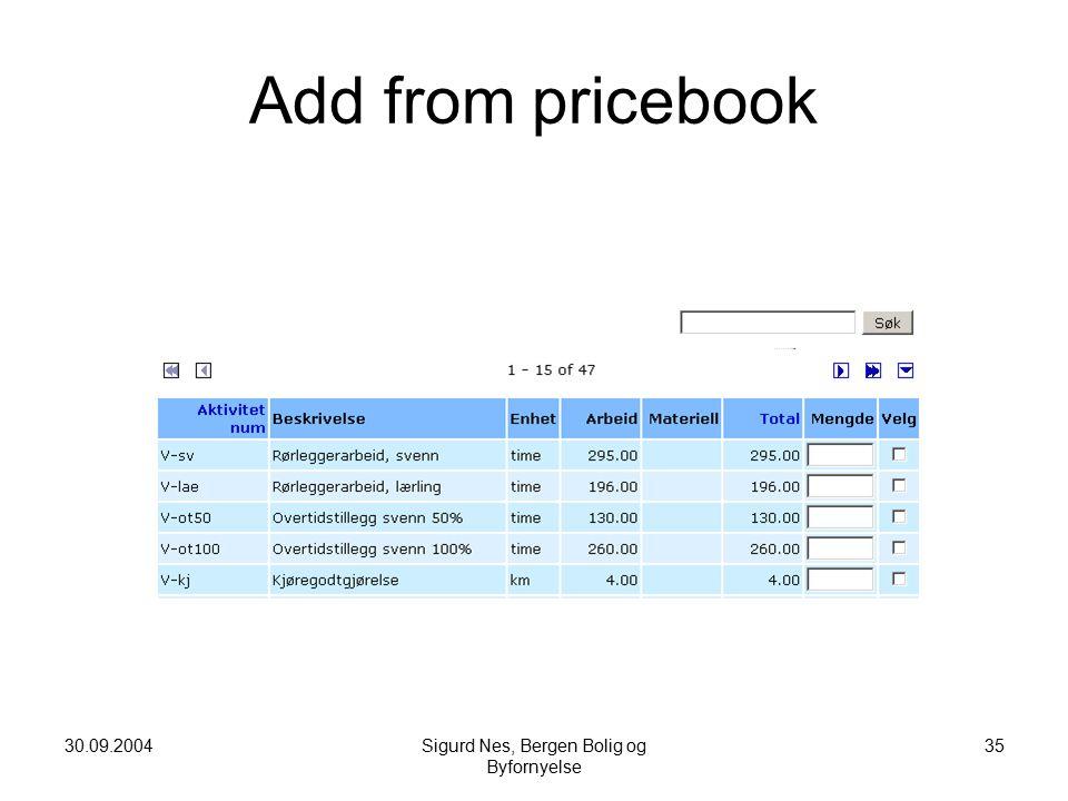 30.09.2004Sigurd Nes, Bergen Bolig og Byfornyelse 35 Add from pricebook