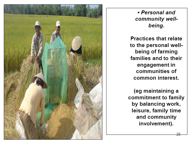 25 Personal and community well- being. Practices that relate to the personal well- being of farming families and to their engagement in communities of