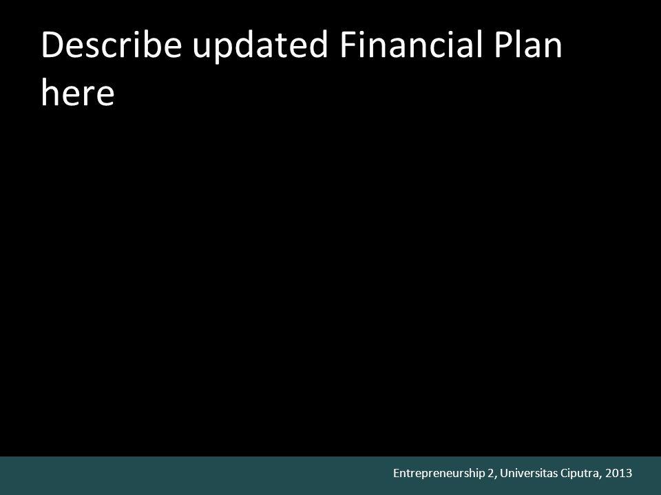 Entrepreneurship 2, Universitas Ciputra, 2013 Describe updated Financial Plan here