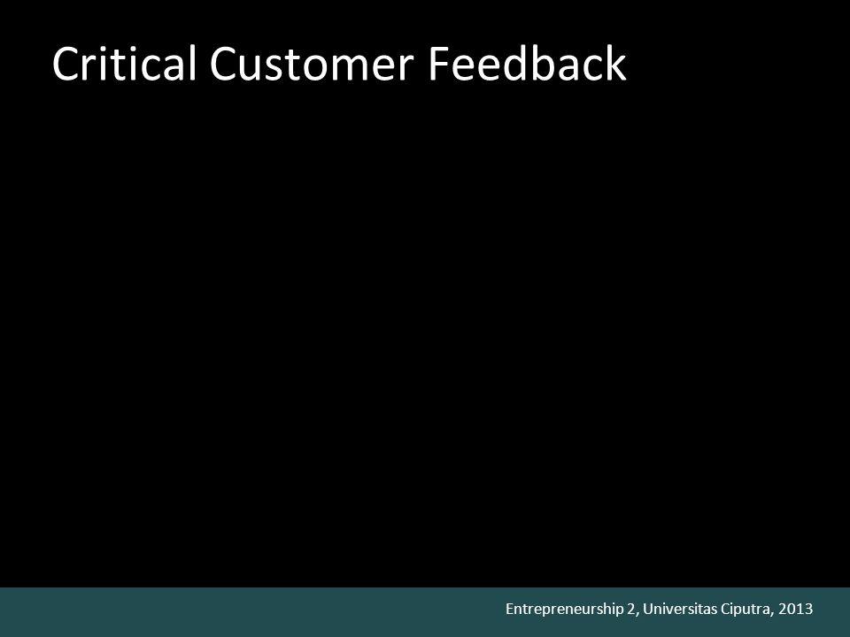 Entrepreneurship 2, Universitas Ciputra, 2013 Critical Customer Feedback