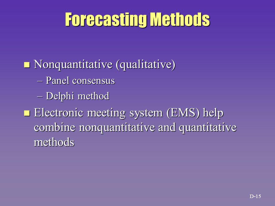 Forecasting Methods n Nonquantitative (qualitative) –Panel consensus –Delphi method n Electronic meeting system (EMS) help combine nonquantitative and