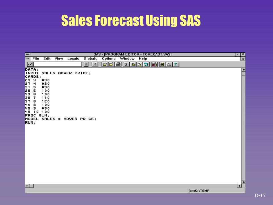 Sales Forecast Using SAS D-17