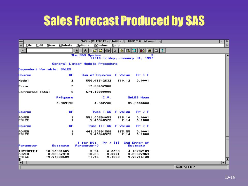 Sales Forecast Produced by SAS D-19