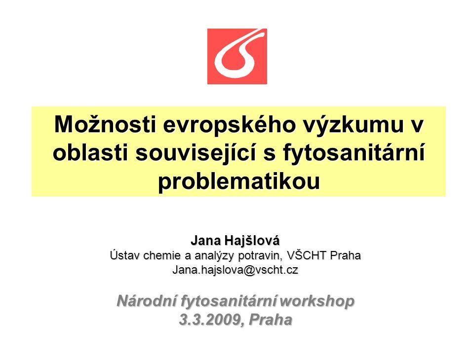 Možnosti evropského výzkumu v oblasti související s fytosanitární problematikou Jana Hajšlová Ústav chemie a analýzy potravin, VŠCHT Praha Jana.hajslo