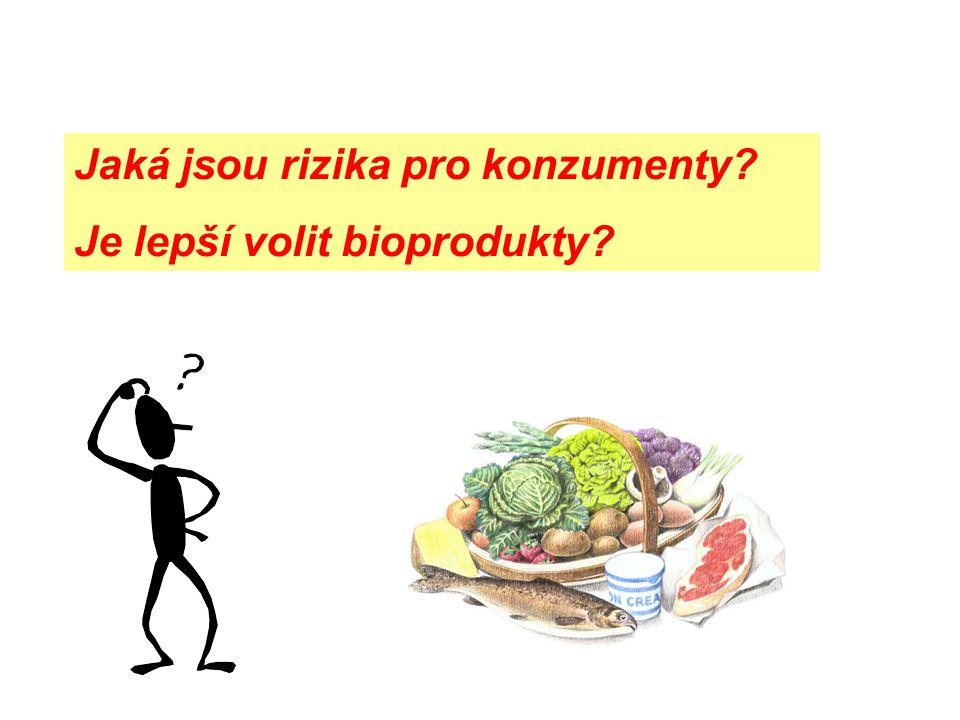Jaká jsou rizika pro konzumenty? Je lepší volit bioprodukty?