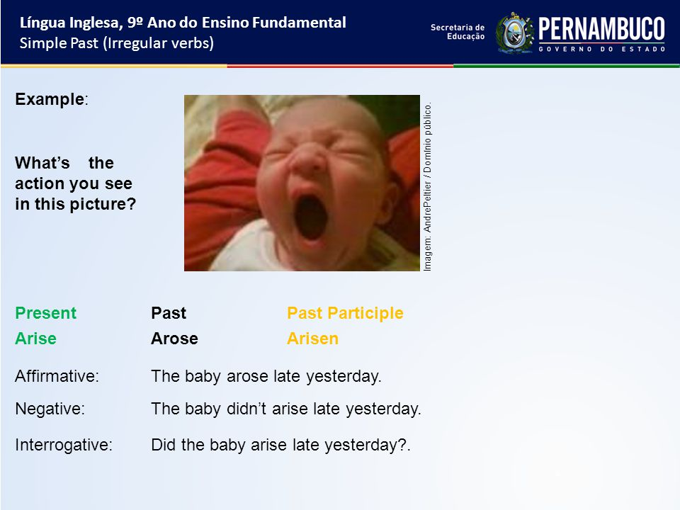 Língua Inglesa, 9º Ano do Ensino Fundamental Simple Past (Irregular verbs) Affirmative:The baby arose late yesterday.