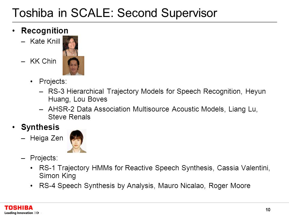 10 Toshiba in SCALE: Second Supervisor Recognition –Kate Knill –KK Chin Projects: –RS-3 Hierarchical Trajectory Models for Speech Recognition, Heyun Huang, Lou Boves –AHSR-2 Data Association Multisource Acoustic Models, Liang Lu, Steve Renals Synthesis –Heiga Zen –Projects: RS-1 Trajectory HMMs for Reactive Speech Synthesis, Cassia Valentini, Simon King RS-4 Speech Synthesis by Analysis, Mauro Nicalao, Roger Moore