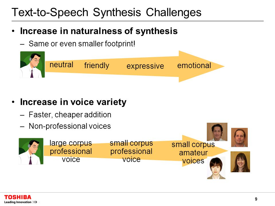 9 Text-to-Speech Synthesis Challenges Increase in naturalness of synthesis –Same or even smaller footprint.