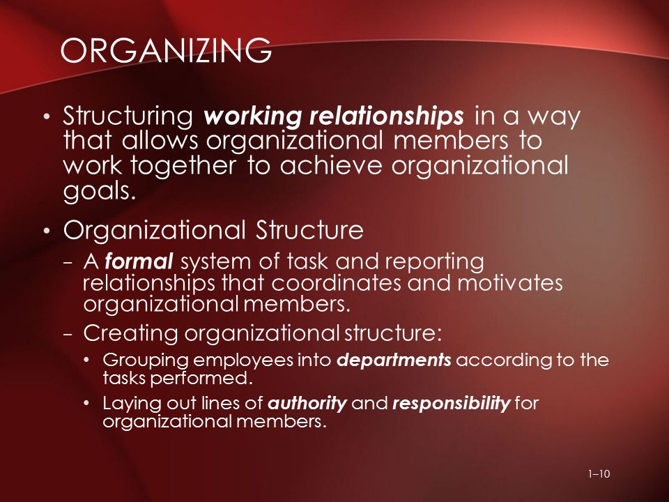 1–10 Structuring working relationships in a way that allows organizational members to work together to achieve organizational goals. Organizational St