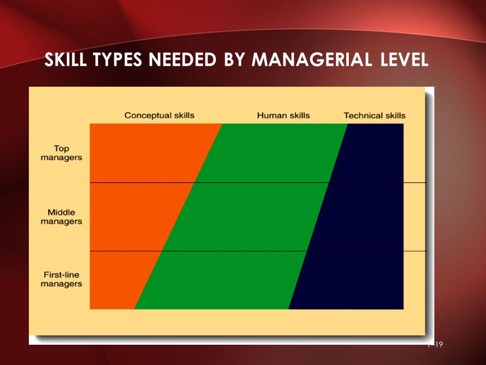 1–19 SKILL TYPES NEEDED BY MANAGERIAL LEVEL