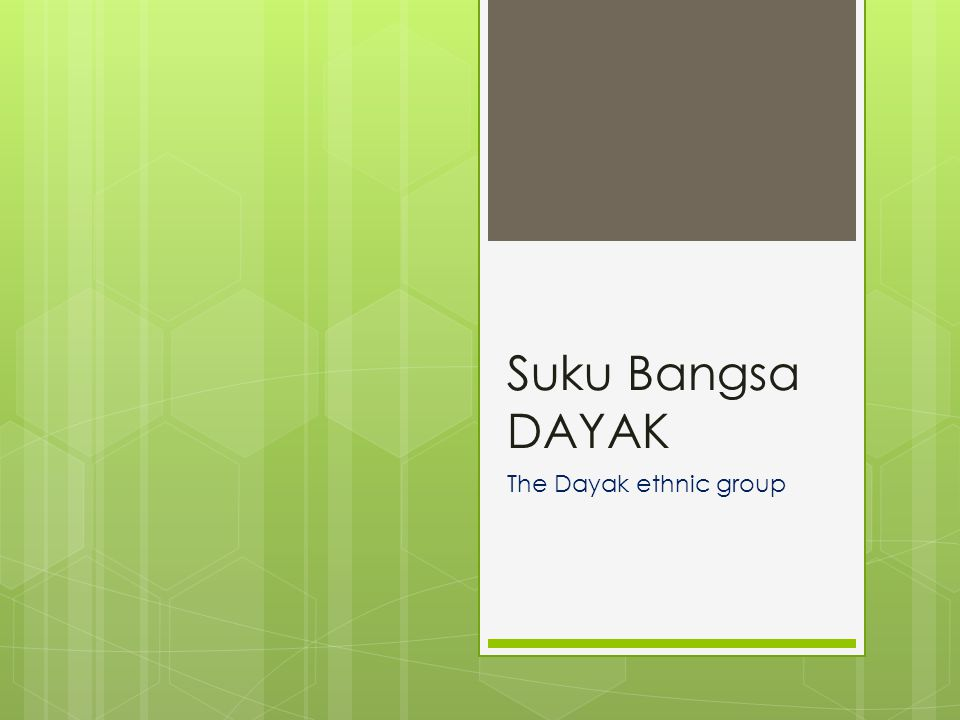 Suku Bangsa DAYAK The Dayak ethnic group