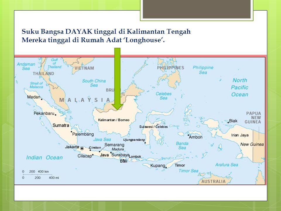 Suku Bangsa DAYAK tinggal di Kalimantan Tengah Mereka tinggal di Rumah Adat 'Longhouse'.
