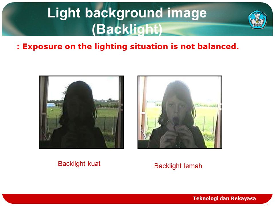 Light background image (Backlight) : Exposure on the lighting situation is not balanced.