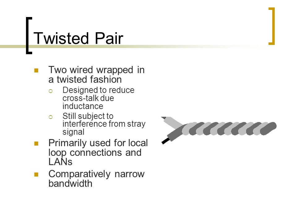 Twisted Pair Two wired wrapped in a twisted fashion  Designed to reduce cross-talk due inductance  Still subject to interference from stray signal Primarily used for local loop connections and LANs Comparatively narrow bandwidth