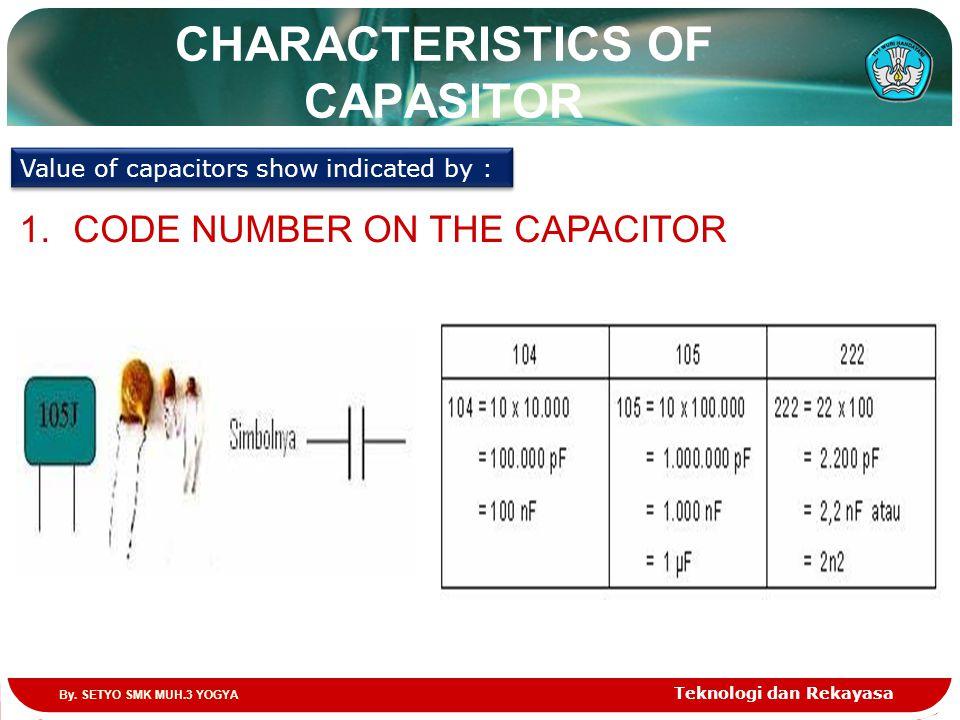 CHARACTERISTICS OF CAPASITOR Teknologi dan Rekayasa Value of capacitors show indicated by : 1.CODE NUMBER ON THE CAPACITOR By. SETYO SMK MUH.3 YOGYA