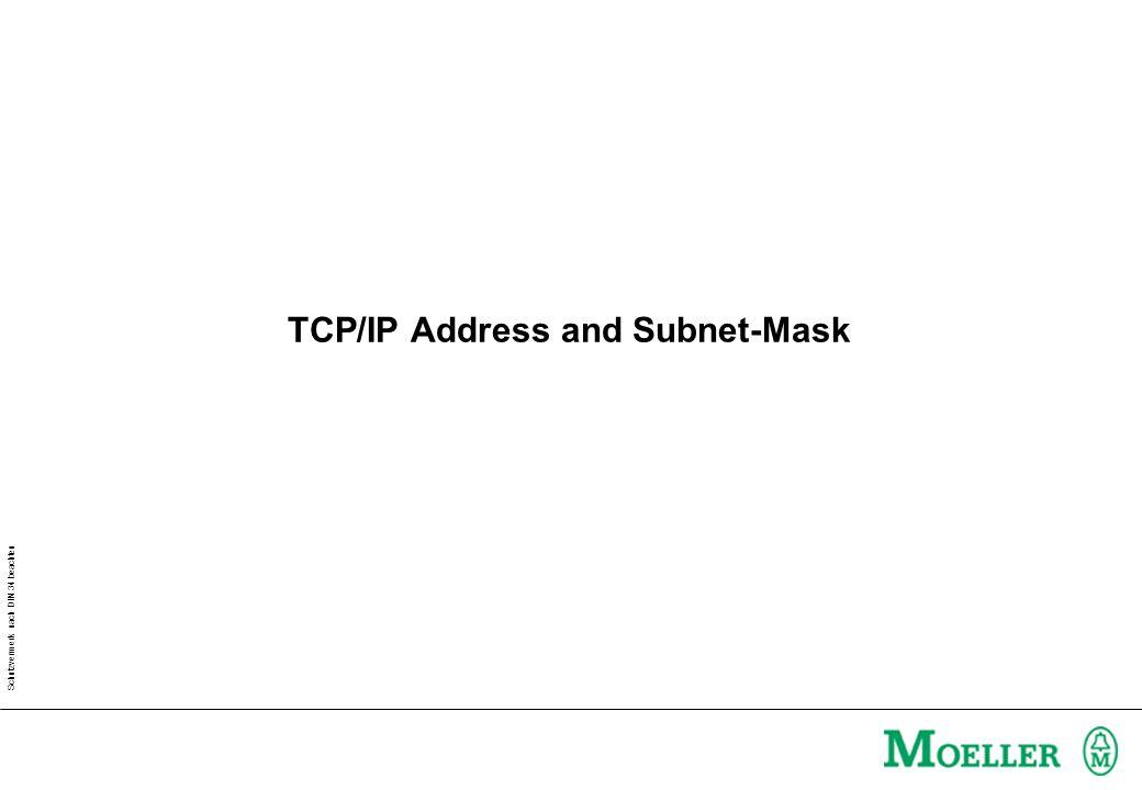 Schutzvermerk nach DIN 34 beachten TCP/IP Address and Subnet-Mask