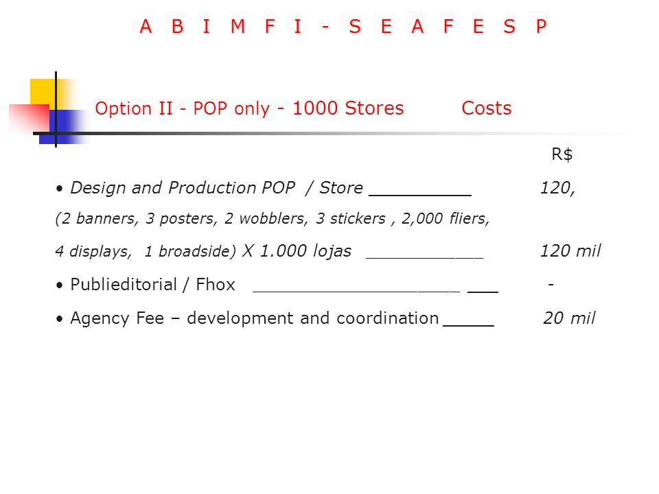 A B I M F I - S E A F E S P R$ Design and Production POP / Store __________ 120, (2 banners, 3 posters, 2 wobblers, 3 stickers, 2,000 fliers, 4 displa