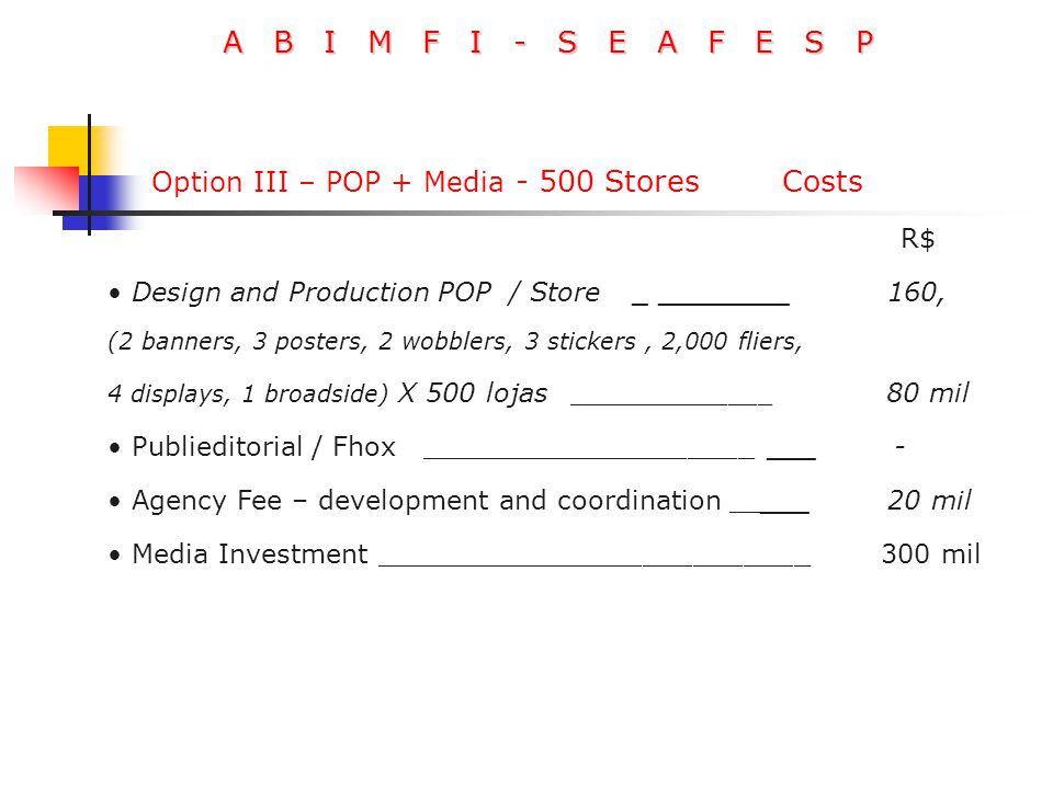 A B I M F I - S E A F E S P R$ Design and Production POP / Store _ ________ 160, (2 banners, 3 posters, 2 wobblers, 3 stickers, 2,000 fliers, 4 displa