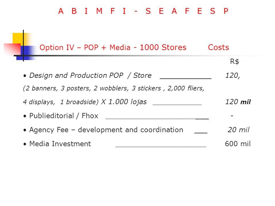 A B I M F I - S E A F E S P R$ Design and Production POP / Store ____________ 120, (2 banners, 3 posters, 2 wobblers, 3 stickers, 2,000 fliers, 4 disp