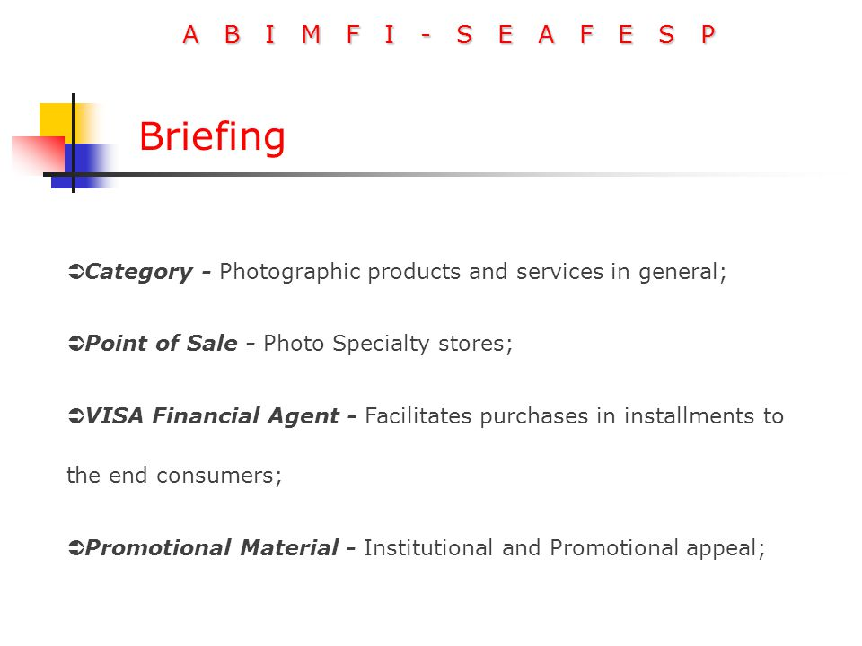 A B I M F I - S E A F E S P Briefing  Category - Photographic products and services in general;  Point of Sale - Photo Specialty stores;  VISA Financial Agent - Facilitates purchases in installments to the end consumers;  Promotional Material - Institutional and Promotional appeal;