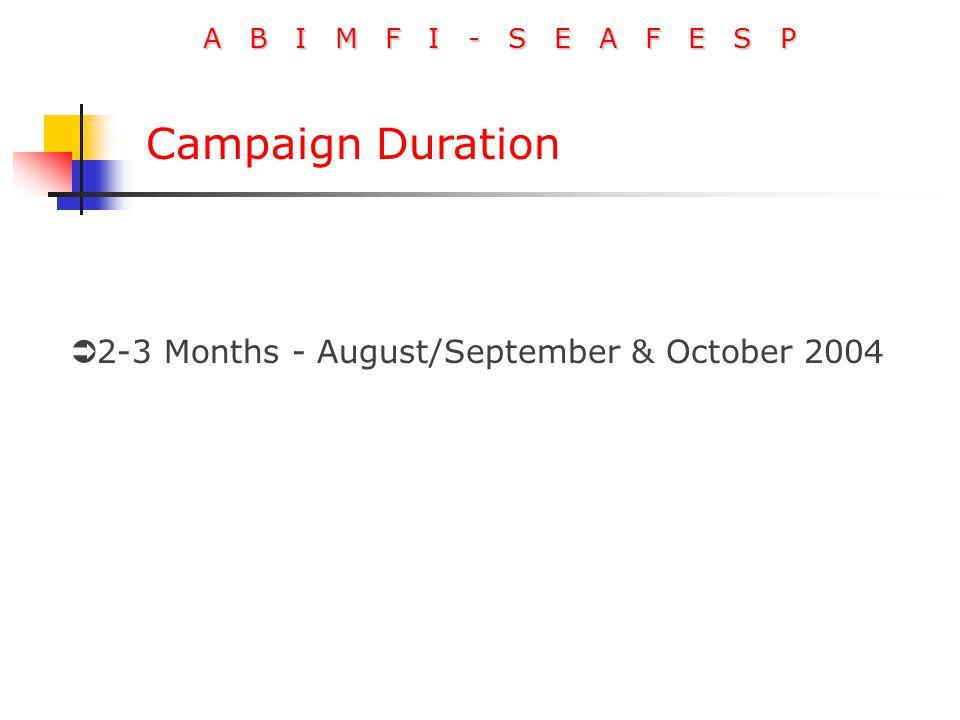A B I M F I - S E A F E S P Campaign Duration  2-3 Months - August/September & October 2004
