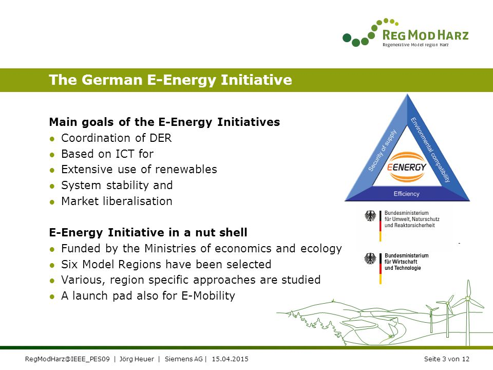 RegModHarz@IEEE_PES09 | Jörg Heuer | Siemens AG | 15.04.2015Seite 2 von 12 Regulation targets stimulation of open Energy Markets Reduction of carbon f
