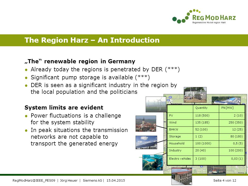 RegModHarz@IEEE_PES09 | Jörg Heuer | Siemens AG | 15.04.2015Seite 3 von 12 The German E-Energy Initiative Main goals of the E-Energy Initiatives ●Coordination of DER ●Based on ICT for ●Extensive use of renewables ●System stability and ●Market liberalisation E-Energy Initiative in a nut shell ●Funded by the Ministries of economics and ecology ●Six Model Regions have been selected ●Various, region specific approaches are studied ●A launch pad also for E-Mobility