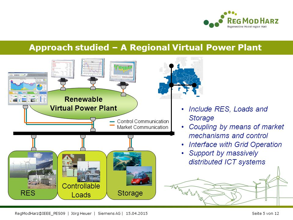 "RegModHarz@IEEE_PES09 | Jörg Heuer | Siemens AG | 15.04.2015Seite 4 von 12 The Region Harz – An Introduction ""The renewable region in Germany ●Already today the regions is penetrated by DER (***) ●Significant pump storage is available (***) ●DER is seen as a significant industry in the region by the local population and the politicians System limits are evident ●Power fluctuations is a challenge for the system stability ●In peak situations the transmission networks are not capable to transport the generated energy QuantityPN [MW] PV118 (500)2 (10) Wind135 (185)250 (350) BHKW52 (100)12 (25) Storage1 (2)80 (180) Household100 (1000)0,5 (5) Industry20 (40)100 (200) Electro vehicles3 (100)0,03 (1)"