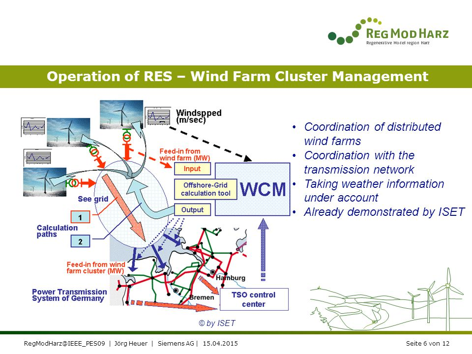 RegModHarz@IEEE_PES09 | Jörg Heuer | Siemens AG | 15.04.2015Seite 6 von 12 Operation of RES – Wind Farm Cluster Management Coordination of distributed wind farms Coordination with the transmission network Taking weather information under account Already demonstrated by ISET © by ISET