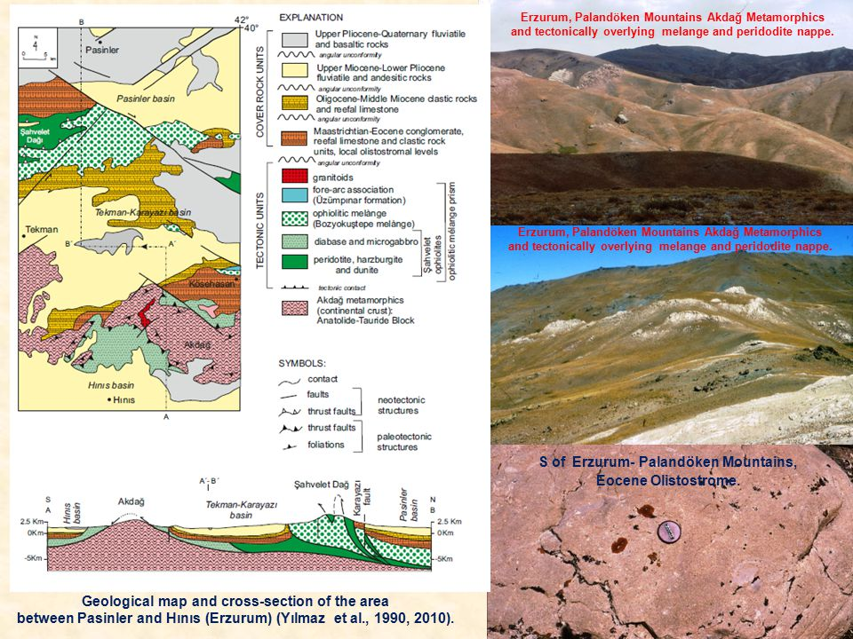 Erzurum, Palandöken Mountains Akdağ Metamorphics and tectonically overlying melange and peridodite nappe.