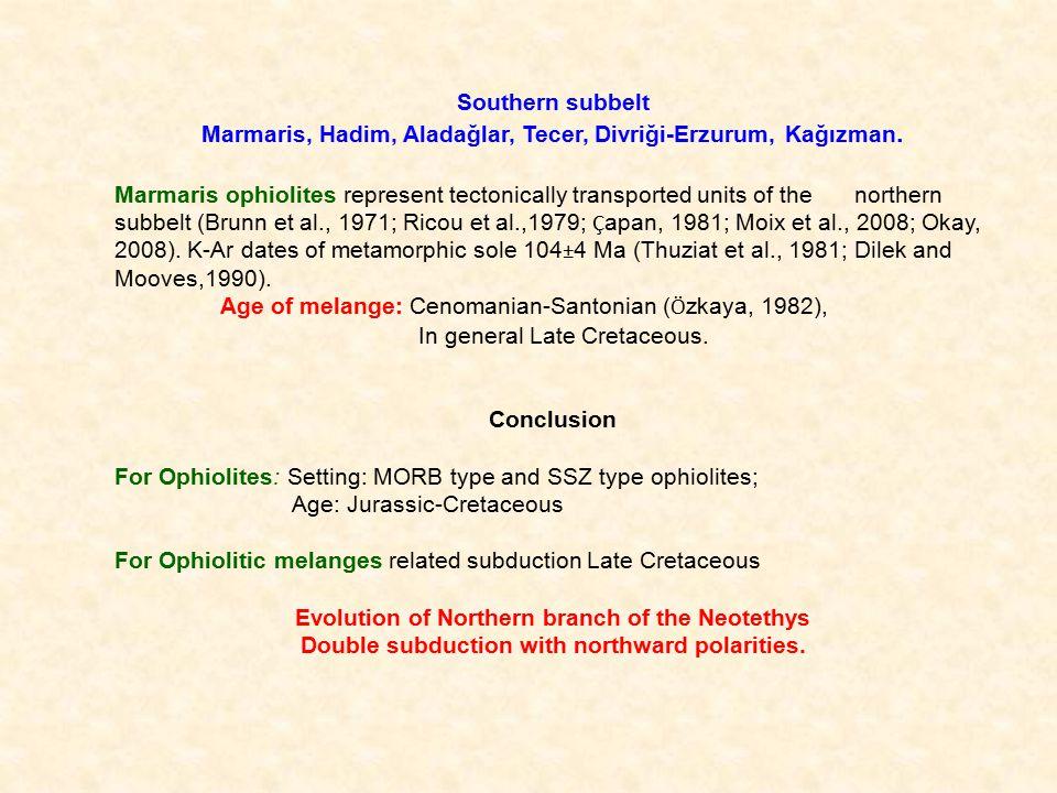 Southern subbelt Marmaris, Hadim, Aladağlar, Tecer, Divriği-Erzurum, Kağızman.
