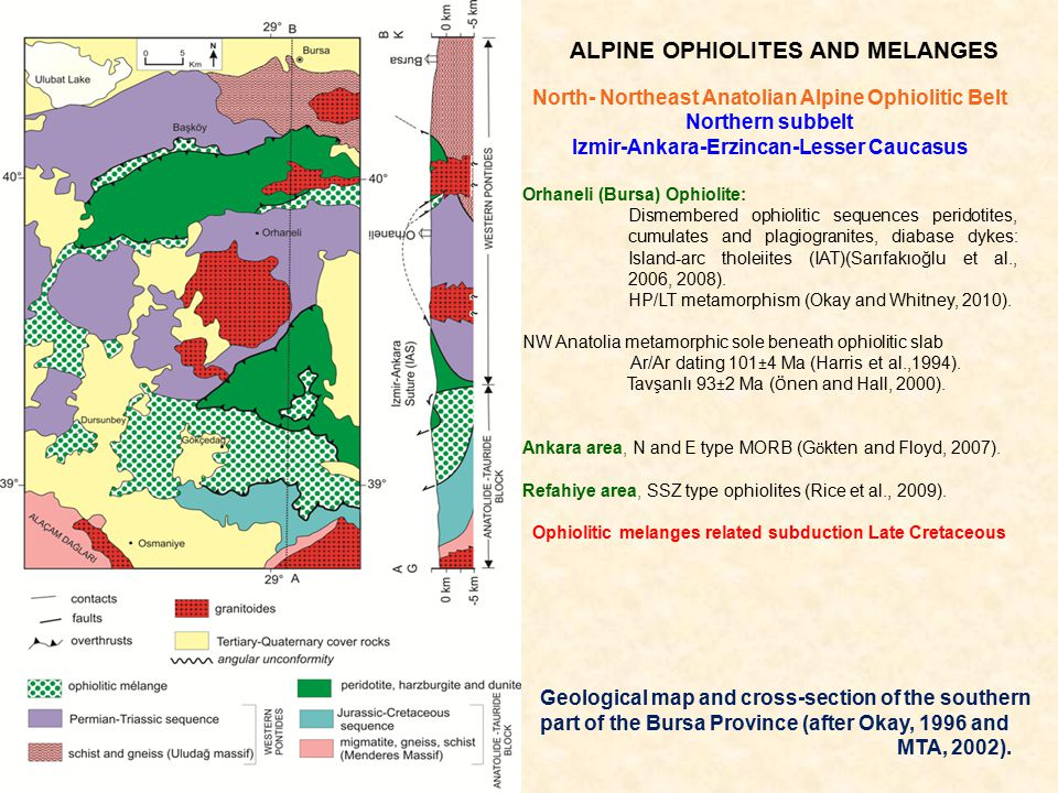 ALPINE OPHIOLITES AND MELANGES North- Northeast Anatolian Alpine Ophiolitic Belt Northern subbelt Izmir-Ankara-Erzincan-Lesser Caucasus Orhaneli (Bursa) Ophiolite: Dismembered ophiolitic sequences peridotites, cumulates and plagiogranites, diabase dykes: Island-arc tholeiites (IAT)(Sarıfakıoğlu et al., 2006, 2008).