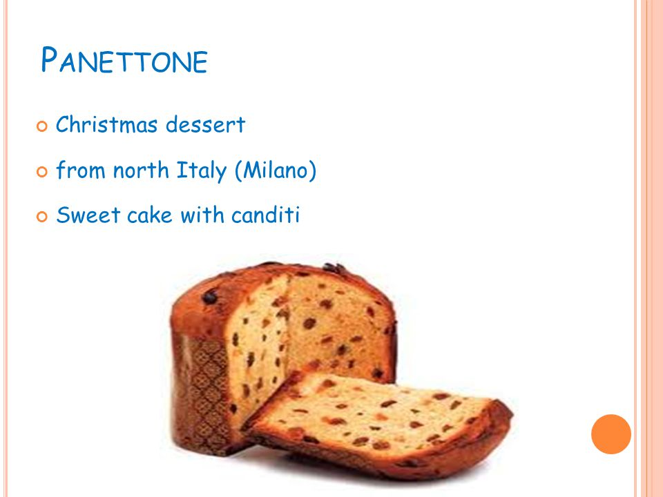P ANETTONE Christmas dessert from north Italy (Milano) Sweet cake with canditi