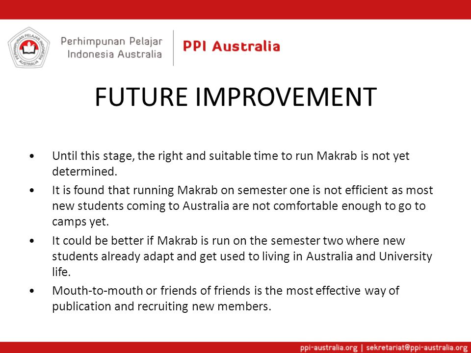 FUTURE IMPROVEMENT Until this stage, the right and suitable time to run Makrab is not yet determined. It is found that running Makrab on semester one