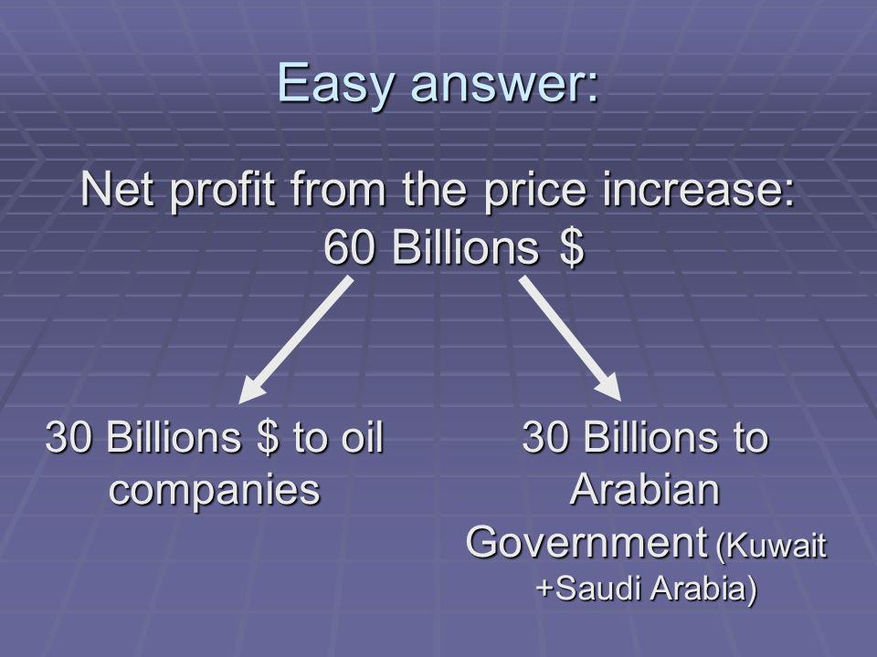 Easy answer: Net profit from the price increase: 60 Billions $ 30 Billions $ to oil companies 30 Billions to Arabian Government (Kuwait +Saudi Arabia)