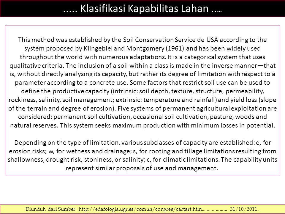..... Klasifikasi Kapabilitas Lahan..