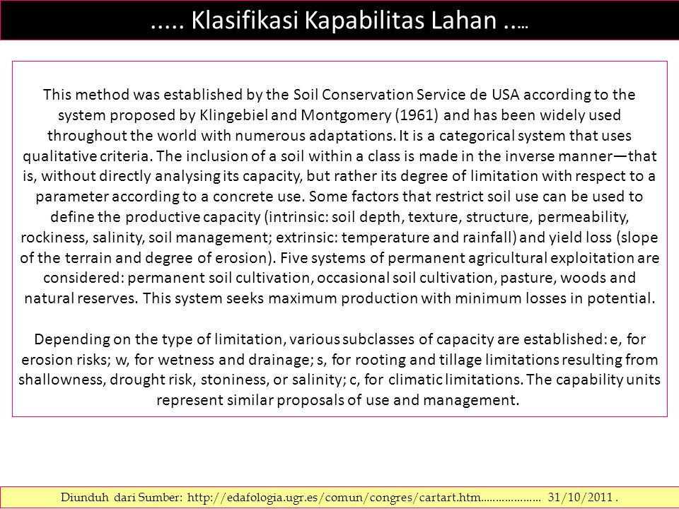 ..... Klasifikasi Kapabilitas Lahan.. … Diunduh dari Sumber: http://edafologia.ugr.es/comun/congres/cartart.htm.................... 31/10/2011. This m