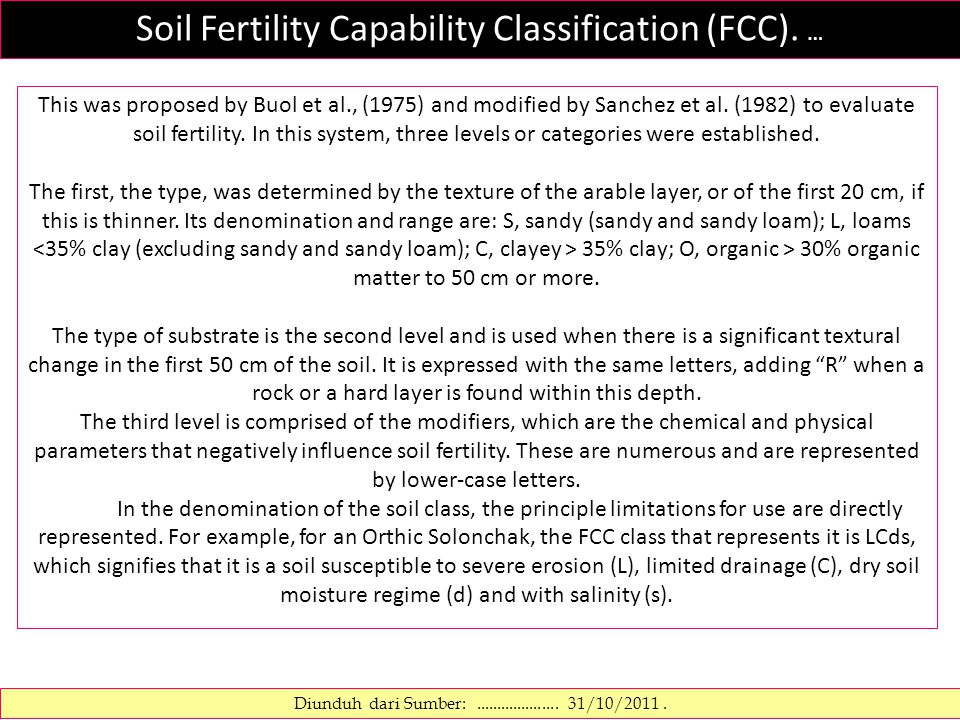 Soil Fertility Capability Classification (FCC). … Diunduh dari Sumber:.................... 31/10/2011. This was proposed by Buol et al., (1975) and mo
