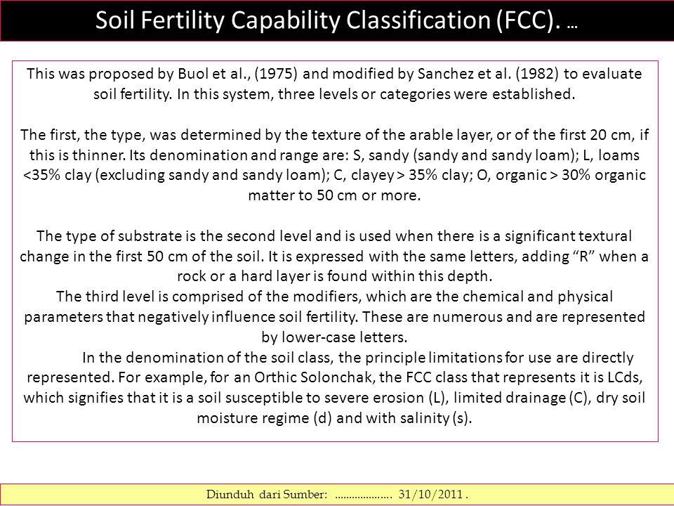 Soil Fertility Capability Classification (FCC). … Diunduh dari Sumber:....................