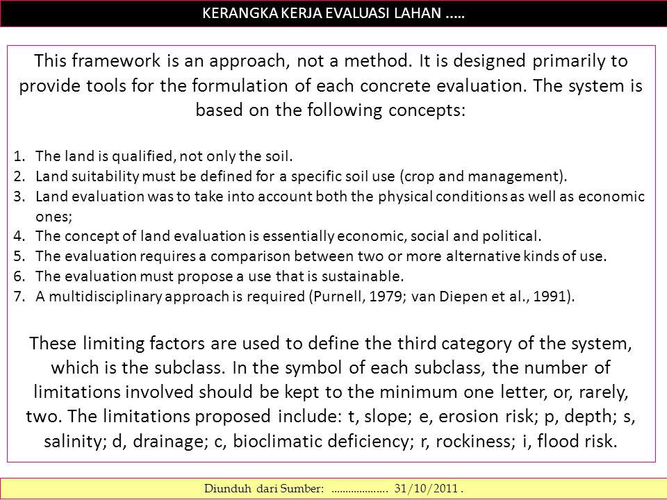 KERANGKA KERJA EVALUASI LAHAN..… Diunduh dari Sumber:.................... 31/10/2011. This framework is an approach, not a method. It is designed prim