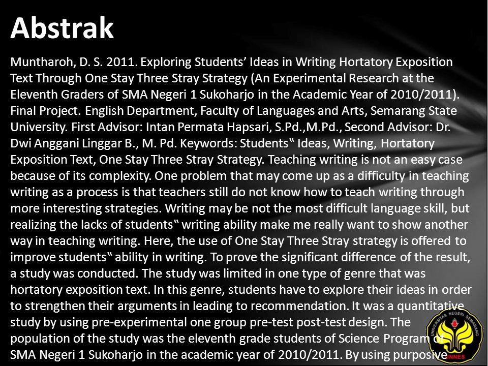 """Kata Kunci Students"""" Ideas, Writing, Hortatory Exposition Text, One Stay Three Stray Strategy."""