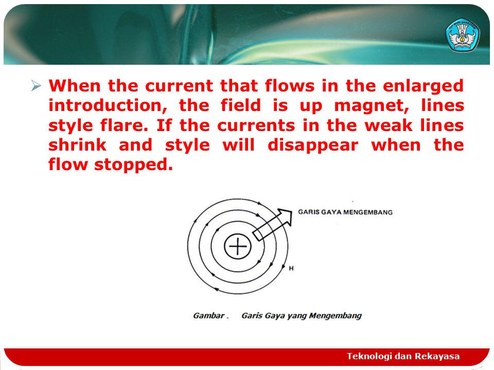  When the current that flows in the enlarged introduction, the field is up magnet, lines style flare.