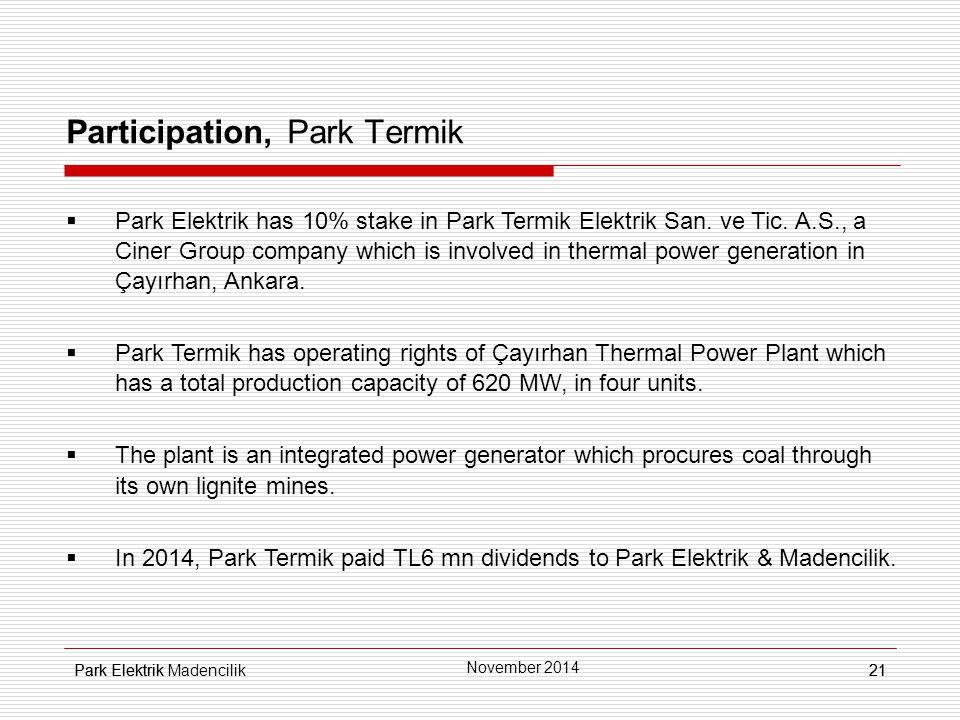 Park Elektrik21 Participation, Park Termik  Park Elektrik has 10% stake in Park Termik Elektrik San.