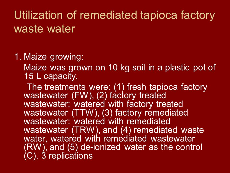 Utilization of remediated tapioca factory waste water 1.Maize growing: Maize was grown on 10 kg soil in a plastic pot of 15 L capacity.